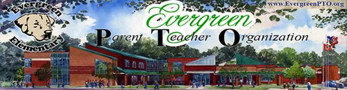 Artist's rendering of Evergreen Elementary School in the Spring, with Chessie logo in the upper left-hand corner